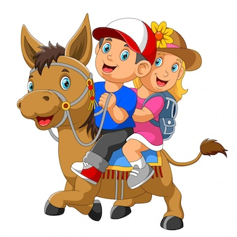 Um, menino menina, montando, cavalo