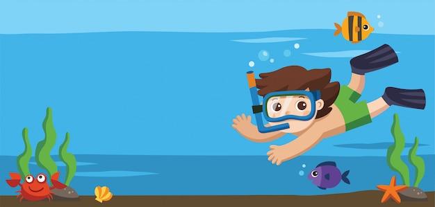Um menino mergulhando com peixes no fundo do oceano. modelo de folheto de publicidade.