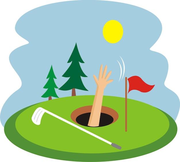 Um menino mergulhou em um buraco de golfe