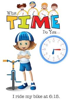 Um menino montar minha bicicleta às 6:15