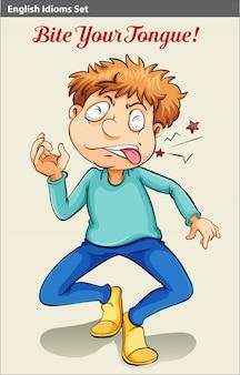 Um menino mordendo a língua