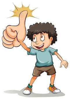 Um, menino, mostrando, seu, polegar