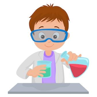 Um menino na aula de química