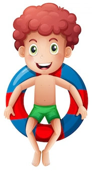 Um menino no anel inflável