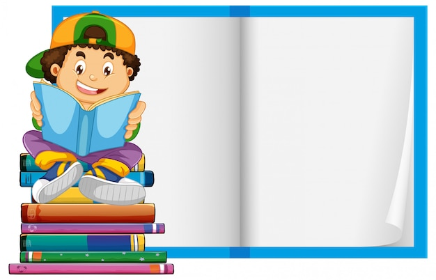 Um menino no fundo de páginas de livro em branco
