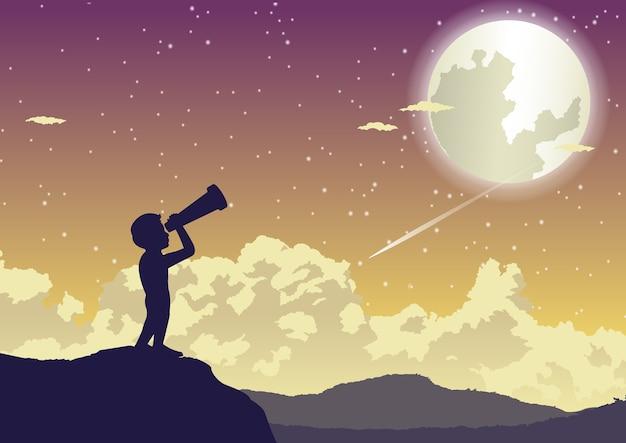 Um menino olhando para as estrelas na bela noite