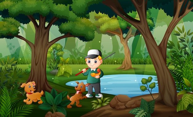 Um menino pescando com seu animal de estimação no pequeno lago