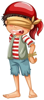 Um menino pirata com um personagem de desenho animado com os olhos vendados isolado