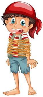 Um menino pirata enrolou uma corda no corpo do personagem de desenho animado isolado