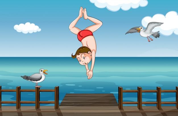 Um menino pulando
