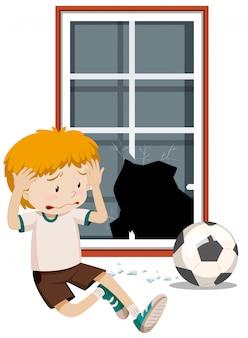 Um, menino, quebre janela, com, futebol