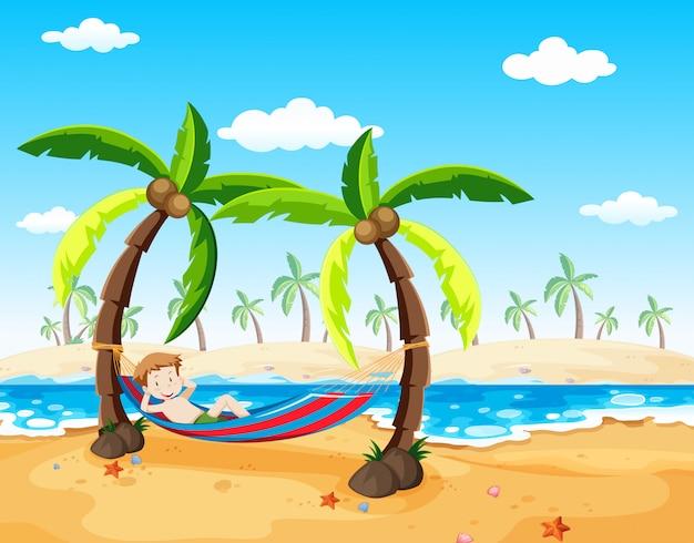 Um, menino, relaxante, sob, árvore palma