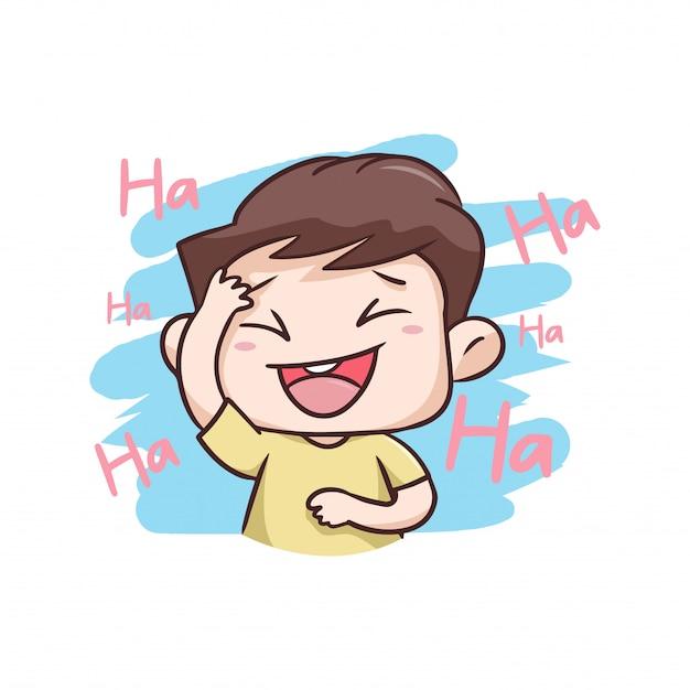 Um menino rindo muito feliz ilustração