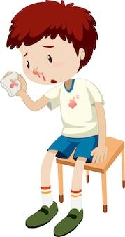 Um menino sangrando nariz