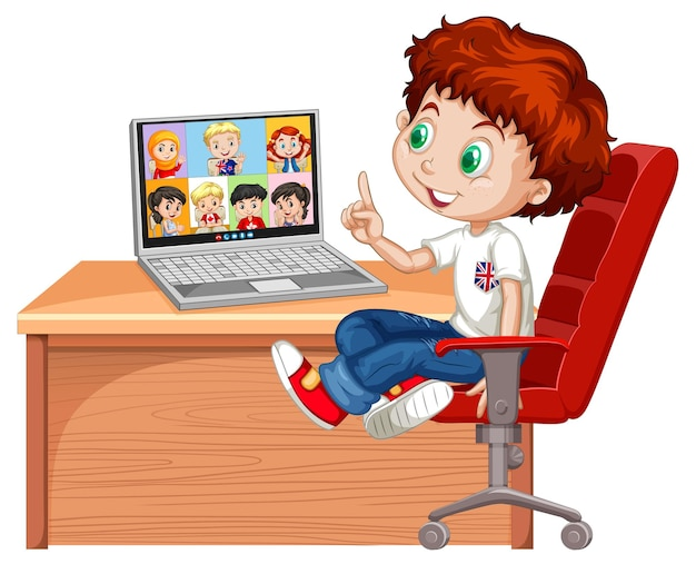 Um menino se comunica por videoconferência com amigos em branco