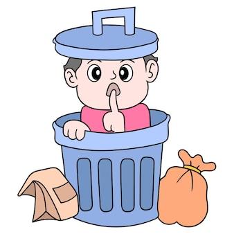 Um menino se escondendo silenciosamente em uma lata de lixo, arte de ilustração vetorial. imagem de ícone do doodle kawaii.