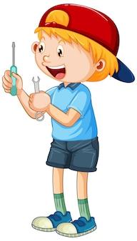 Um menino segurando ferramentas manuais em fundo branco
