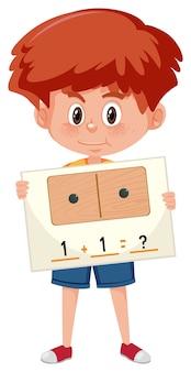Um, menino, segurando, matemática, pergunta, cartão