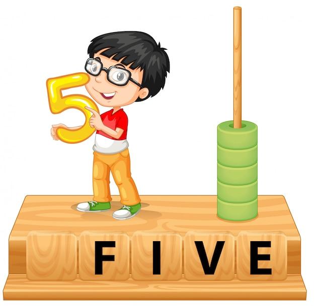 Um, menino, segurando, numere cinco