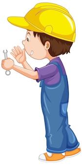 Um menino segurando uma chave inglesa no fundo branco