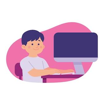 Um menino sentado em seu computador aprendendo online ou jogo online