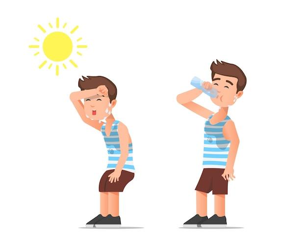 Um menino sente calor e bebe água mineral
