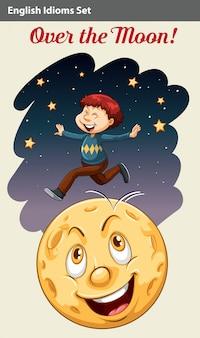 Um menino sobre a lua