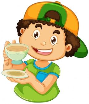 Um menino srinking café