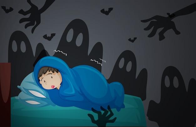 Um menino tendo pesadelo