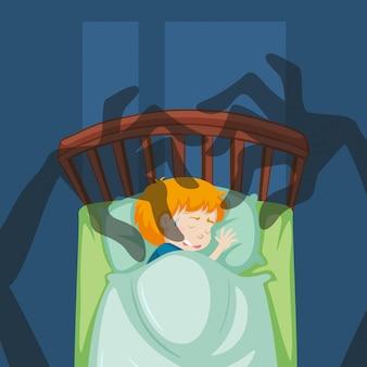 Um menino tendo um pesadelo