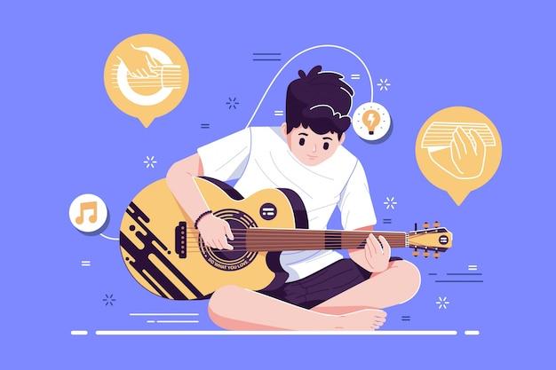 Um menino tocando violão