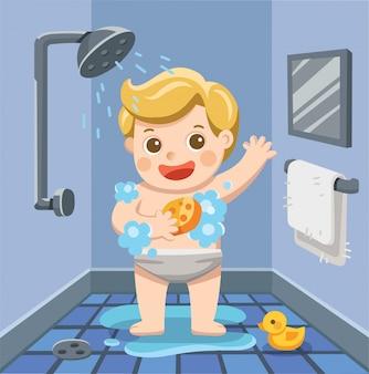 Um menino tomando banho no banheiro com muita espuma de sabão e pato de borracha. ilustração