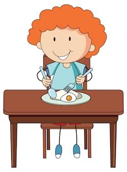Um menino tomando café da manhã rabiscando personagem de desenho animado isolado
