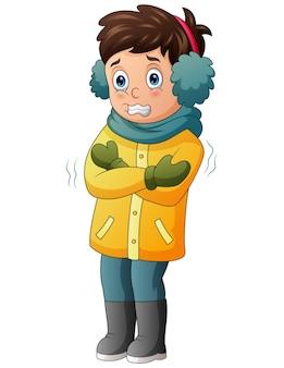 Um menino tremendo na ilustração do clima de inverno