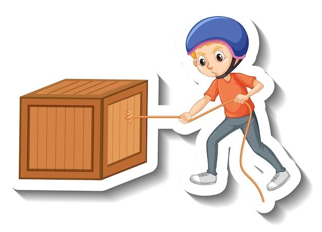 Um menino usando capacete puxando uma caixa no fundo branco