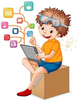 Um menino usando tablet para ensino à distância online