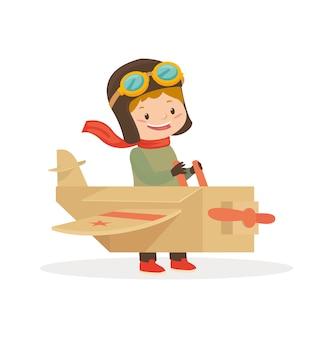 Um menino usar brinquedo de avião para jogar