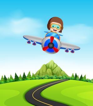 Um menino voando de avião