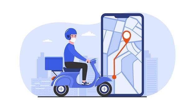 Um mensageiro de scooter faz uma entrega rápida. ilustração vetorial.