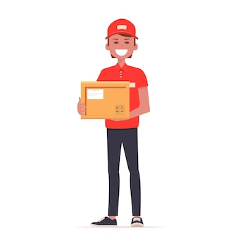 Um mensageiro em uniforme vermelho com o pacote.