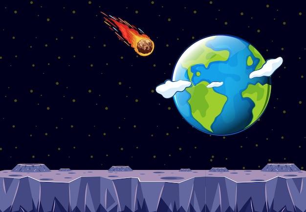Um meteoro vindo em direção ao planeta terra