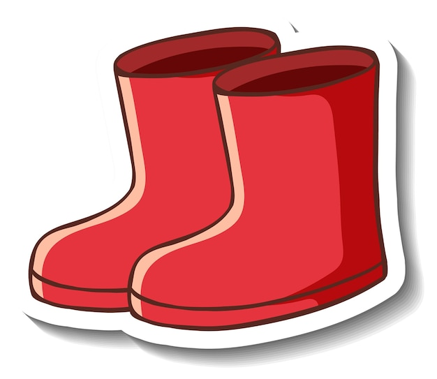 Um modelo de adesivo com botas vermelhas isoladas