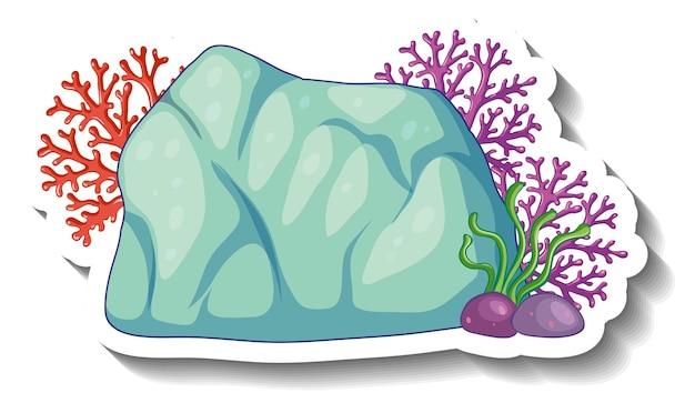 Um modelo de adesivo com elemento do mar de coral isolado