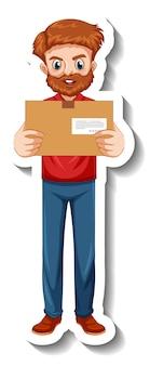 Um modelo de adesivo com entregador de uniforme segurando caixas