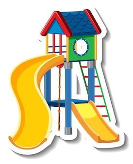 Um modelo de adesivo com escorregador e playground para crianças
