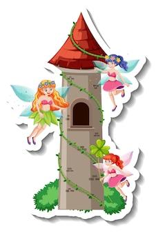 Um modelo de adesivo com muitos personagens de desenhos animados de fadas e um castelo