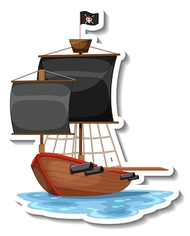 Um modelo de adesivo com o navio pirata isolado