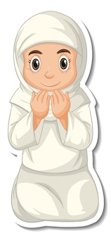 Um modelo de adesivo com o personagem de desenho animado de menina muçulmana orando