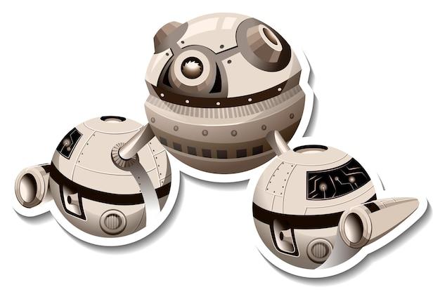 Um modelo de adesivo com ovni ou estação espacial isolado