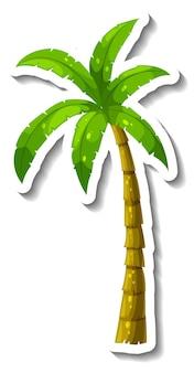 Um modelo de adesivo com palmeira tropical isolada